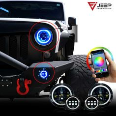Color changing headlights and fog lights kit for Wrangler 2007-2017 - All Through your Phone!