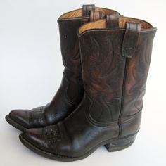 Vintage 60s Brown Leather ACME Flame Stitched Western Cowboy Boots Womens 7 1/2. $88.00, via Etsy.