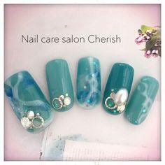 ネイル 画像 Nail care salon Cherish ふじみ野 855713 ブルー 夏 チップ ハンド