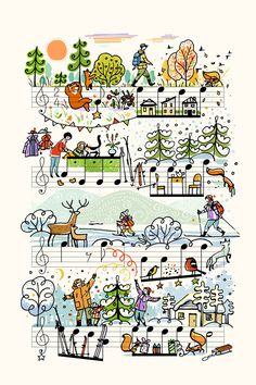 """""""V lesu rodilas elochka"""" Graphic/Illustration art prints and posters by people too - ARTFLAKES. Music Notes Art, Sheet Music Art, Music Paper, Music Sheets, Piano Music, Music Illustration, Graphic Illustration, Illustrations, Music Painting"""