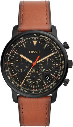 4e5ee9734d0 Fossil Goodwin Chronograph Leather Strap Watch