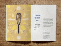 Home Italian Cookbook Lemon Ice Recipe Spread by Sarah Zimmer on Dribbble Cookbook Cover Design, Recipe Book Design, Recipe Graphic, Recipe Book Covers, Booklet Layout, Reflective Journal, Pub Design, Book Design Layout, Graphic Design Projects