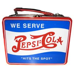 """Pepsi Before Britney Spears was paid to endorse Pepsi-cola, the brand relied on their signature design and on advertising like this bright red, white, and blue lunchbox to """"hit the spot."""" Classic and patriotic, you had no choice but to pack a can of Pepsi inside."""