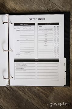 Editable free party planner for your homekeeping binder
