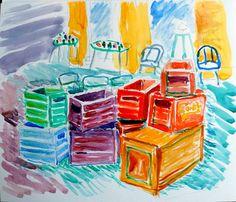 Beer cases - Ølkasser - Skitse - Watercolor august 2016 - Claus Ib Olsen