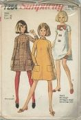 "An original ca. 1967 Simplicity Pattern 7284.   The ""tent"" dress has high round neckline, raglan sleeves and back zipper. Versions one and two have ""stand up"" collar, long sleeves and patch pockets. Version one is regular length. Mini-length version two has matching bloomers. Version three dress may be made in regular-length or mini-length. The mini-length dress is worn with contrasting bloomers, bow and front trim."