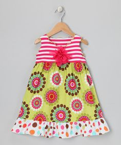 Take a look at this Pink & Green Crazy Dot Ruffle Dress - Toddler & Girls by SILLY MILLY on #zulily today!