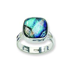 Sterling Silver Blue Dichroic Glass Ring Size 6 >>> Be sure to check out this awesome product.(This is an Amazon affiliate link and I receive a commission for the sales)