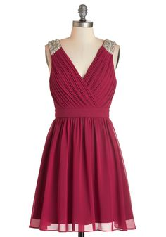 Poised to Enchant Dress - Red, Solid, Beads, Pearls, Sequins, Party, A-line, Sleeveless, Woven, Better, V Neck, Mid-length, Ruching, Holiday Party, Valentine's, Homecoming, Special Occasion, Prom