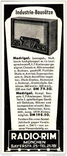 Original-Werbung/ Anzeige 1951 - RADIO - RIM / MÜNCHEN - ca. 45 x 110 mm