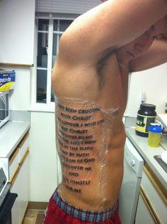 My brothers new tattoo... Galatians 2:20