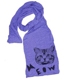 MEOW CAT scarf  american apparel tri blend t shirt by skipnwhistle, $22.00