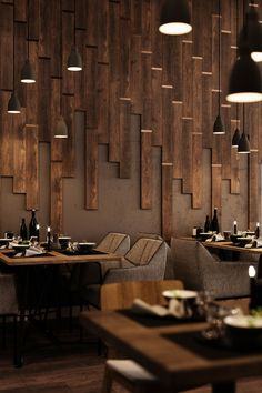 Textures, lighting, seating, and more, Wood Restaurants can easily inspire the design of your person Decoration Restaurant, Deco Restaurant, Luxury Restaurant, Modern Restaurant, Restaurant Lighting, Restaurant Recipes, Coffee Shop Design, Cafe Design, House Design