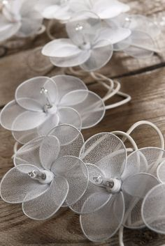 White Flower Lights 20 Nylon Flowers 10 Feet $15 set / 3 sets $14 each (end to end plug in)