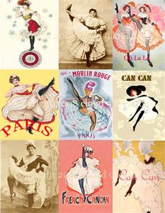 All things French | French Can Can Dancers Digital Collage Sheet-french, can can dancer ...