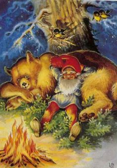 Lars Carlsson ~ Good times - gnome and bear Norwegian Christmas, Scandinavian Christmas, Christmas Gnome, Christmas Art, Christmas Sayings, Kobold, Elves And Fairies, Vintage Christmas Cards, Old Postcards