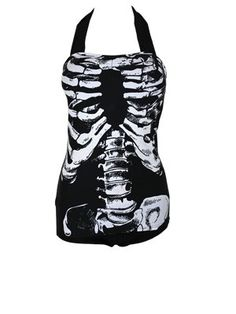 Banned Skeleton One Piece Swimming Costume