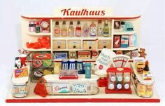 The Clutter: Mini Shop German Store, Play Grocery Store, Toys Market, Green Label, Miniature Rooms, Toy Kitchen, Dollhouse Dolls, Dolls Dolls, My Childhood Memories