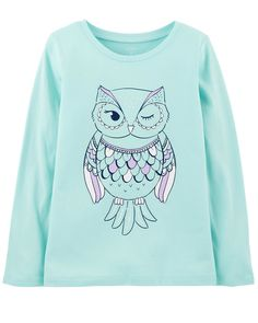b78402c1d21 Kid Girl Owl Jersey Tee