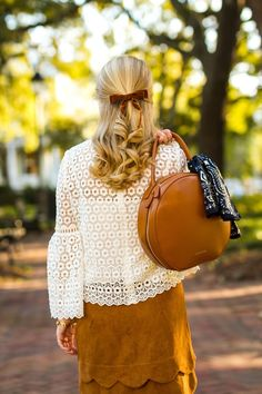 Lace & Scallops // www.prepavenue.com Suede, lace, fall, autumn, style, fashion, preppy, prep, ideas, photo, inspiration, circle bag, cheap, affordable, southern, south, savannah, blogger, style, clothes, outfits, school, casual, teens, dressy, women, bow, hair, brown