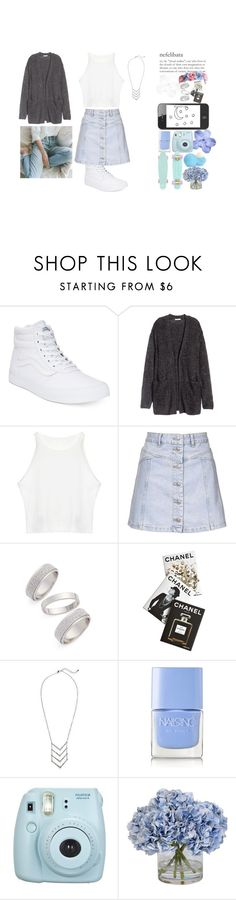 """""""Beautiful blue"""" by pernille-sophie ❤ liked on Polyvore featuring Vans, H&M, Topshop, Assouline Publishing, Nails Inc., Ethan Allen and Eos"""