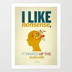 Dr. Seuss Art Print by Kongoriver - $15.00