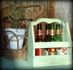 6 Pack Beer Bottle Wooden Crate Carrier with Bottle Opener. $45.00, via Etsy.