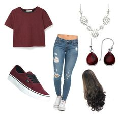 """""""Maroon"""" by oasymons on Polyvore featuring Vans and MANGO"""