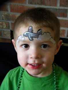 Airplane face paint idea; can add more clouds and even a moon and stars/sky