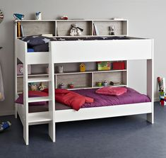 The Kids Avenue Tam Tam 3 white and loft grey bunk bed with a sturdy deep 3 step ladder has 6 shelves with loft grey back panels for storage, 3 for each bunk.