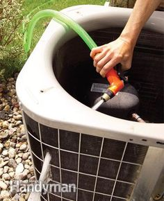 Clean Your Air Conditioner Condenser Unit Takes one hour and should be done yearly.  #DIYSerendipity #cleaning #tips Cleaning Tips and Life Hacks