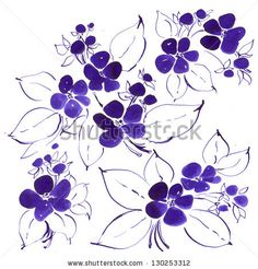 how to draw a violet flower