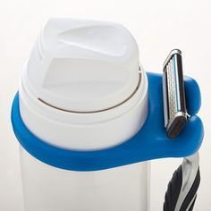 Talk about a sharp idea! Our Good Grips® Razor Holder lets you secure a razor to any can of shaving gel or cream. Made of silicone, the holder stretches to fit cans of varying sizes. Its design prevents the razor from falling through the shelves of a shower caddy and the blade from resting on metal wire.
