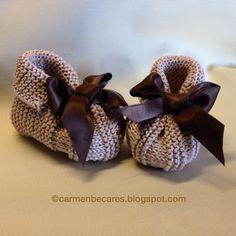 TUTORIAL.  Patucos de lana para bebe. ( tejido dos agujas) carmenbecares.blogspot.com