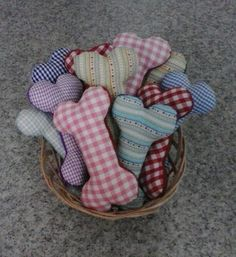 Small Fabric squeaky dog toy bones by MisHelenEous on Etsy, £6.00