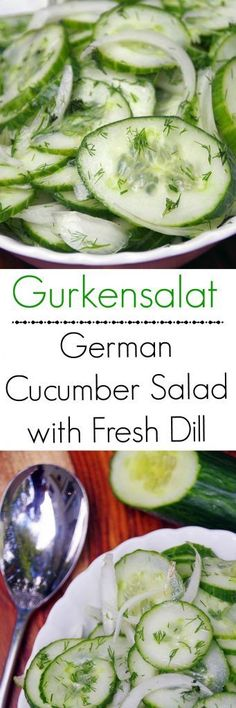 Gurkensalat recipe: A German Cucumber Salad Recipe with Fresh Dill. If you are looking for Oktoberfest recipes, this one is easy!