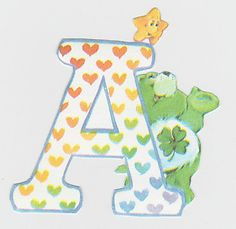 care bear-inspired letter (for the door, accent wall). Google Image Result for http://i.ebayimg.com/t/CARE-BEARS-NURSERY-WALL-LETTER-STICKER-NAME-7-LETTERS-/00/s/OTk3WDEwMjQ%3D/%24(KGrHqMOKi8E55LIEod%2BBOhZBgpJOw~~60_35.JPG