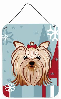 Winter Holiday Yorkie Yorkishire Terrier Wall or Door Hanging Prints BB1700DS1216