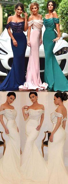 Off-The-Shoulder bridesmaid dress Mermaid/Trumpet Bridesmaid Dress  Sequins bridesmaid dress