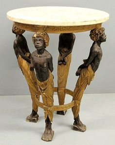 248: Rare blackamoor occasional table, 19th c., with ma : Lot 248