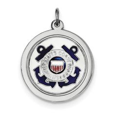 Sterling Silver Rhod-plated US Coast Guard Disc XSM147