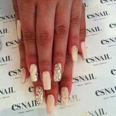 beautiful light beige nails with gems