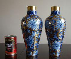 Antique Pair of Thomas Forester Phoenix Flow Blue & Gold Vases ART NOUVEAU c1910