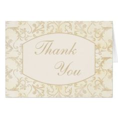 #wedding #thankyoucards - #Creme and Beige Floral Damask Thank You Card