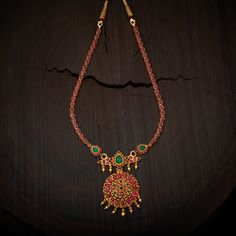 South Indian Traditional Silver Temple Necklace, Studded with Ruby Green spinal stones made in Pure Silver. Gold Jewellery Design, Gold Jewelry, Ruby Jewelry, Antique Jewellery, Padlock Necklace, Necklace Online, Necklace Designs, Modern Jewelry, Indian Jewelry