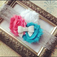 Coral Aqua Gray Party Sequin Bow wide one size Lace Shabby Trio Holiday gift Headband newborn baby girl adult photography prop. $10.00, via Etsy.