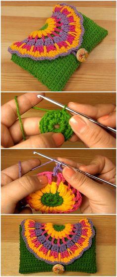 Crochet Flowers Easy Learn To Crochet Purse With Colorful Flower - Learn To Crochet Purse With Colorful Flower Crochet Flower Patterns, Crochet Designs, Crochet Flowers, Knitting Patterns, Crochet Ideas, Crochet Gifts, Crochet Yarn, Free Crochet, Unique Crochet