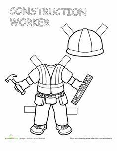 Worksheets: Construction Worker Paper Doll