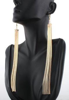 """Gold Poparazzi 7"""" Metal Tassel Drop Earrings Mob Basketball Wives JOTW"""