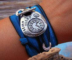 STERLING Silver Jewelry Unique Silk Wrap Bracelet by HappyGoLicky